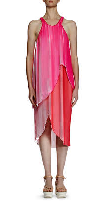 Stella McCartney Primrose Sleeveless Racerback Plisse Dress, Pink/White