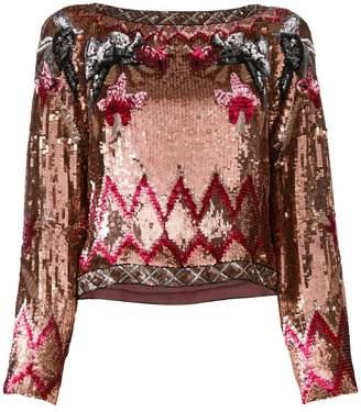 Alberta Ferretti sequin patterned blouse
