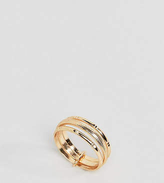 Asos Design Curve Ring With Vintage Style Triple Band In Gold