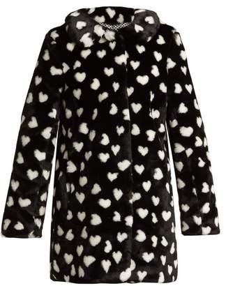 Hvn - Courtney Heart Print Faux Fur Coat - Womens - Black White