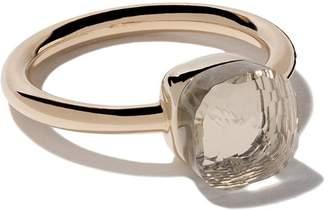 Pomellato 18kt rose & white gold small Nudo white topaz ring