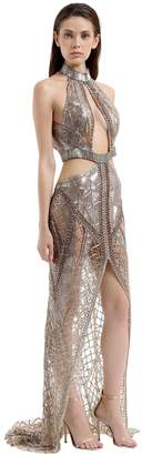 Julien Macdonald Beaded Gown With Cutouts