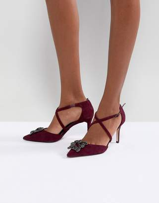 Dune London Pointed Shoe with Crystal Embellishment and Cross Straps