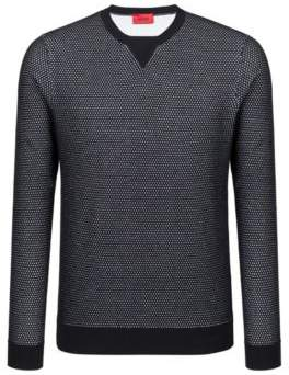 HUGO Boss Crew-neck sweater in two-color knitted cotton pique L Black