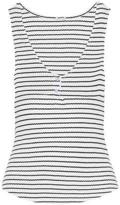Monrow Striped Ribbed Cotton-Blend Tank