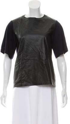Balenciaga Leather-Paneled Wool Top