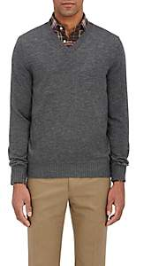 Fioroni Men's Duvet Cashmere V-Neck Sweater - Light Gray