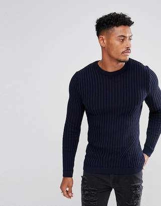 Asos DESIGN Muscle Fit Ribbed Sweater In Navy