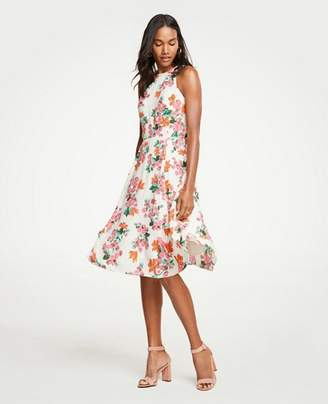 Ann Taylor Floral Halter Bow Back Flare Dress