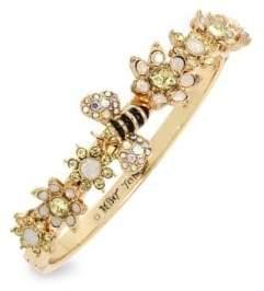 Betsey Johnson Bee Mine Goldtone Crystal Hinged Bangle Bracelet