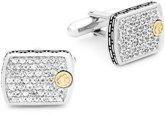 Effy Men's White Sapphire, 18K Yellow Gold and Sterling Silver Cufflinks