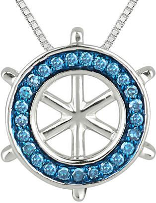FINE JEWELRY 1/6 CT. T.W. White & Color-Enhanced Blue Diamond Ship Wheel Pendant Necklace