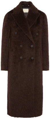 By Malene Birger Ayana Double-breasted Brushed Knitted Coat - Burgundy