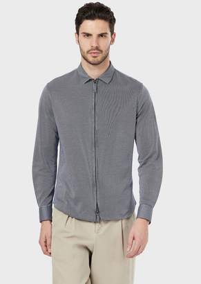 Giorgio Armani Slim-Fit, Striped Jersey Shirt With Zipper