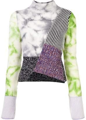 Zoe Jordan contrast panel asymmetric sweater
