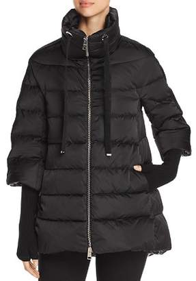 Herno Satin A-Line Down Coat with Detachable Gloves