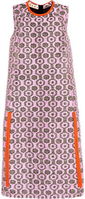 Marni - Leather-trimmed Metallic Jacquard Dress - Baby pink