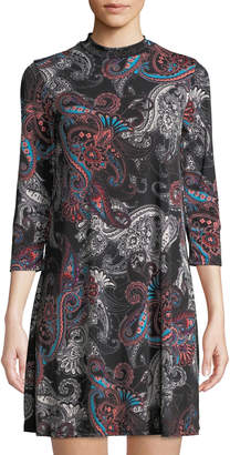 Neiman Marcus High-Neck Paisley A-Line Dress