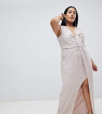 Asos DESIGN Curve drape knot front scatter embellished sequin maxi dress