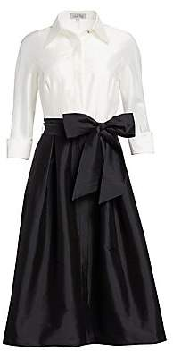 Teri Jon by Rickie Freeman Women's Two-Tone Collared Taffeta Gown