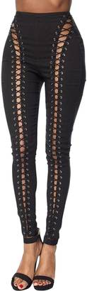 Hot & Delicious Black Laced Up Jeggings $65 thestylecure.com