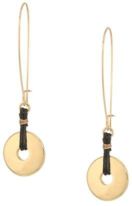 Robert Lee Morris Gold and Brown Leather Disc Drop Earrings Earring