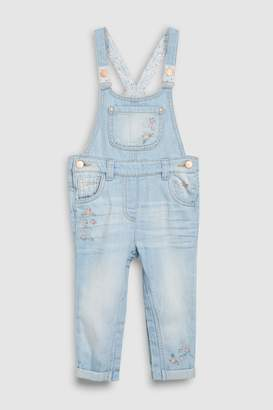 Next Girls Denim Light Blue Floral Embroidered Dungarees (3mths-7yrs)