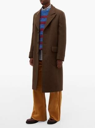 Marni Single Breasted Wool Blend Overcoat - Mens - Brown