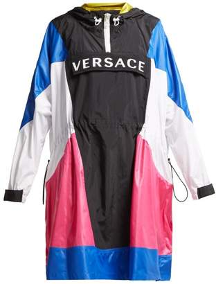 Versace Logo Hooded Technical Jacket - Womens - Black Multi