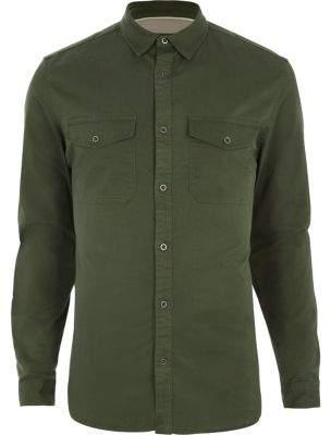 River Island Khaki green muscle fit military shirt