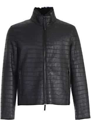 Emporio Armani Textured Leather Jacket