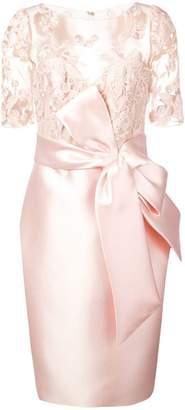 Badgley Mischka lace panelled dress