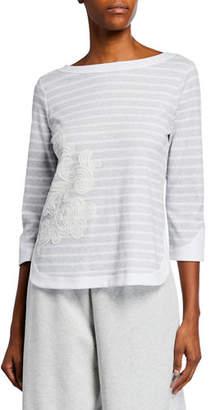 Joan Vass Striped 3/4-Sleeve Cotton Interlock Top with Zip Back & Floral Applique