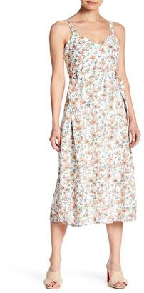 J.o.a. Floral V-Neck Belted Midi Dress