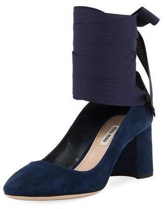 Miu Miu Suede Ankle-Wrap Pump, Oltremare $690 thestylecure.com