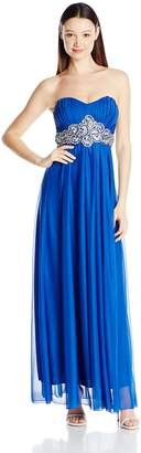 My Michelle Junior's Strapless Long Prom Dress with Embellished Waist