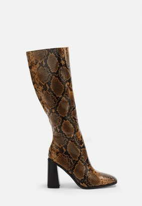 Missguided Tan Square Toe Knee High Boots