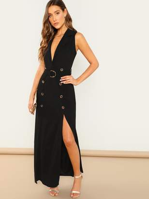 Shein Double Breasted M Slit Belt Trench Dress