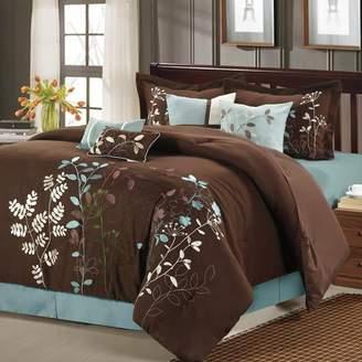 Bliss Garden 8-pc. Brown Comforter Set