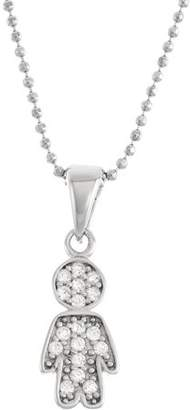 5th & Main Sterling Silver Male Figure with CZ Stones Pendant Necklace