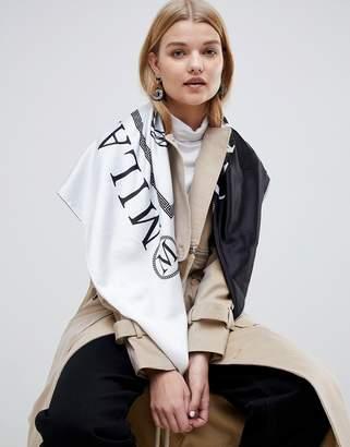 Asos Design DESIGN large square polysatin headscarf/neckscarf in milano print