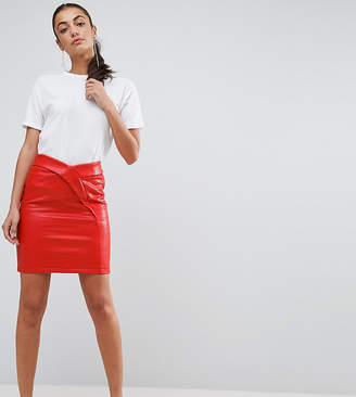Asos Tall TALL Textured Tulip Mini Skirt In Leather Look