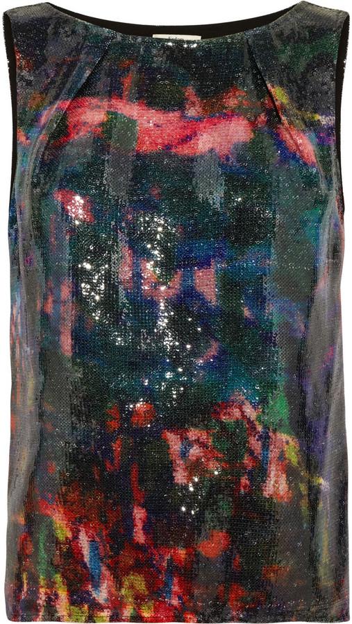 Erdem Fabian printed sequined top