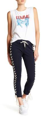 Pam & Gela Raw Edge Step Hem Crop Pants