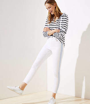 LOFT Modern Side Stripe Frayed High Waist Skinny Crop Jeans in White