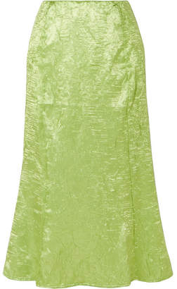 The Line By K - Grace Crinkled-satin Midi Skirt - Green