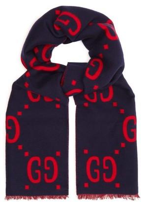 Gucci Gg Jacquard Wool Blend Scarf - Mens - Navy Multi