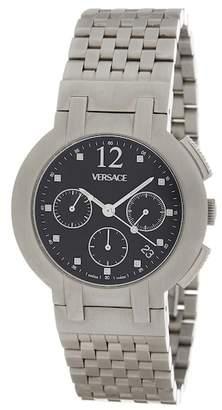 Versace Stainless Steel Case Black Dial Stainless Steel Bracelet Watch - 40mm