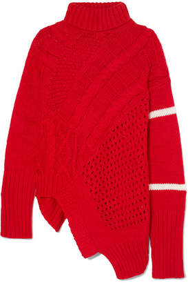Preen Line Serenity Asymmetric Paneled Knitted Turtleneck Sweater - Red
