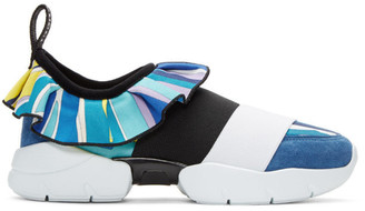 Emilio Pucci Blue Colorblock Slip-On Sneakers $635 thestylecure.com